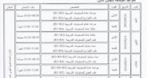 جدول امتحانات النقل (الترفيع) للعام التدريبي 2014- 2015