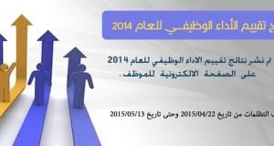نتائج تقييم الأداء الوظيفي لعام 2014
