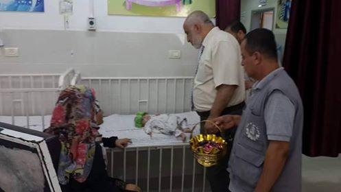 مستشفى الشهيد محمد الدرة للأطفال يهنئ المرضى بالعيد و يستقبل (1439)حالة طوارئ