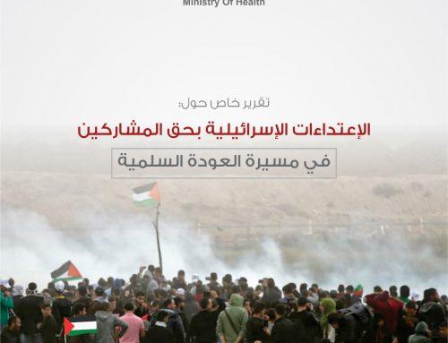 تقرير الإعتداءات الإسرائيلية على مسيرة العودة السلمية 30-03-2018 – 30-06-2018