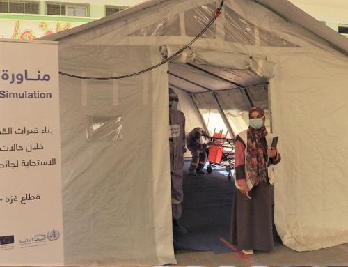 الصحة تنظم مناورة للتعامل مع اصابات محتملة بفيروس كورونا بمحافظة رفح