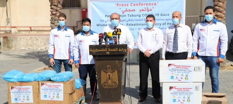 الصحة تتسلم مساعدات طبية من مؤسسة احباء غزة ماليزيا لتعزيز جهود مواجهة جائحة كوفيد 19
