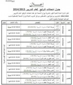 جدول امتحانات الترفيع للعام التدريبي 2013/2014